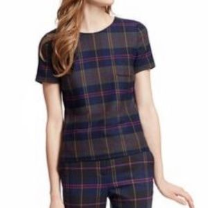 Boden Purple Plaid Short Sleeve Wool Top